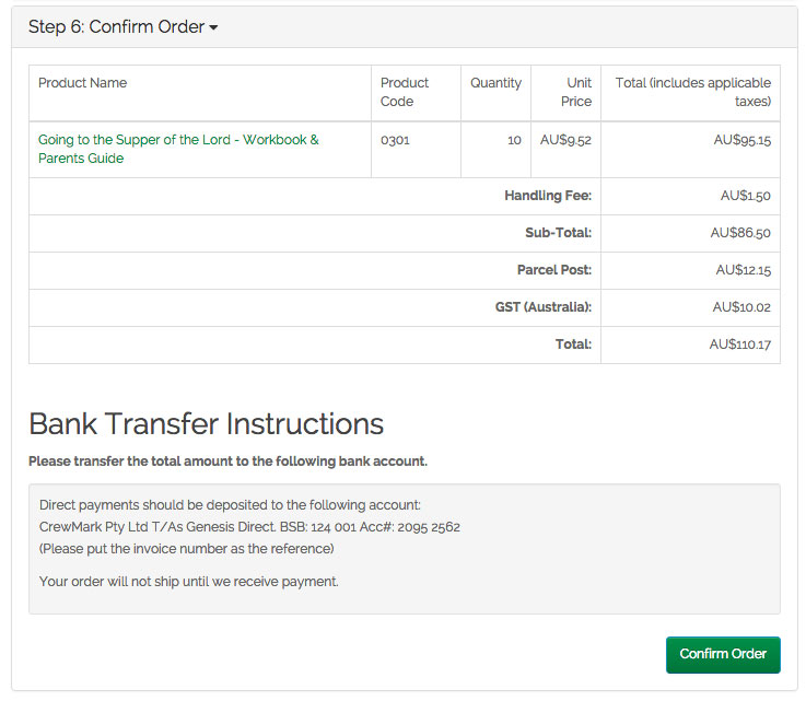 Confirm order - Bank Transfer