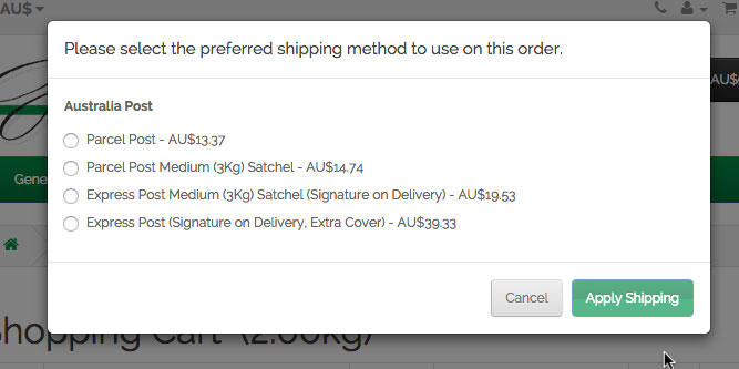 Select Shipping Method
